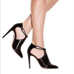 Aquazzura Black Leather Cutout Heeled Booties
